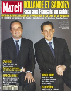 Hollande and Sarkozy posing for Paris Match in order to defend the 2005 referendum on the EU constitutional treaty. At that time, they failed together.