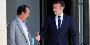 Holding out a hand to the trade unions: Emmanuel Macron and Philippe Martinez from the CGT.