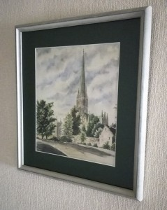 Watercolour of Salisbury Cathedral. Bought and taken to Germany by PoW Wilhelm Sonntag in 1948. Now on display in Bouchemaine, France.